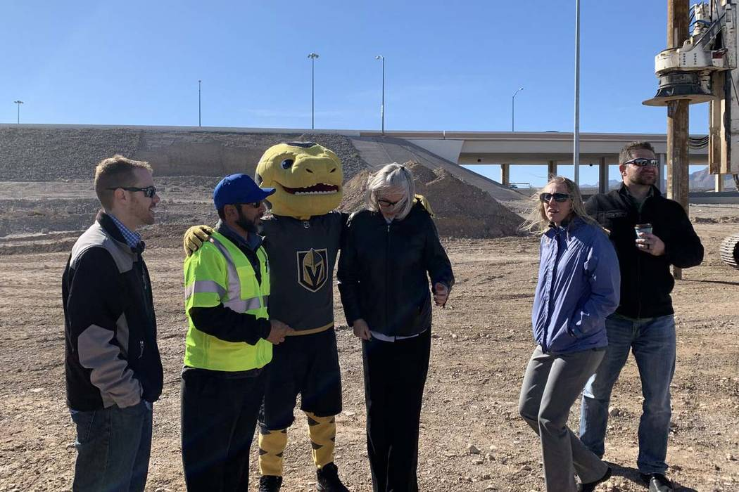 Vegas Golden Knights mascot, Chance, helps kick off the $73 million Centennial Bowl ll Project at the interchange of U.S. Highway 95 and the 215 Beltway in northwest Las Vegas, Tuesday, Jan. 22, 2 ...