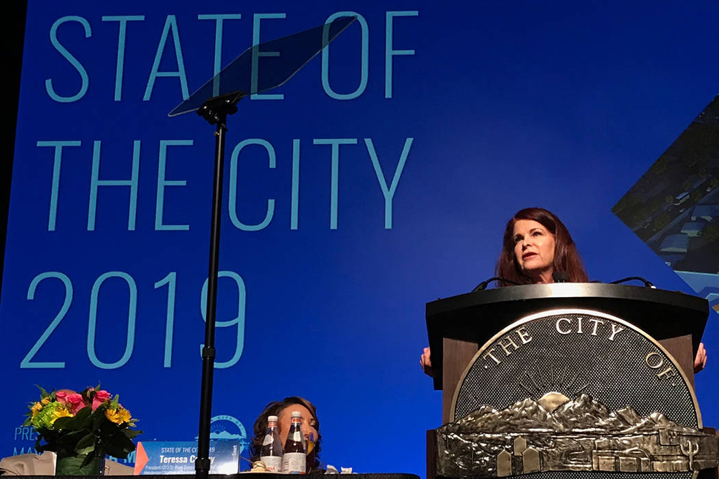 Henderson Mayor Debra March addresses an audience of nearly 1,000 during the annual State of the City address on Tuesday, Jan. 22, 2019, at Green Valley Ranch. (Blake Apgar/Las Vegas Review-Journal)