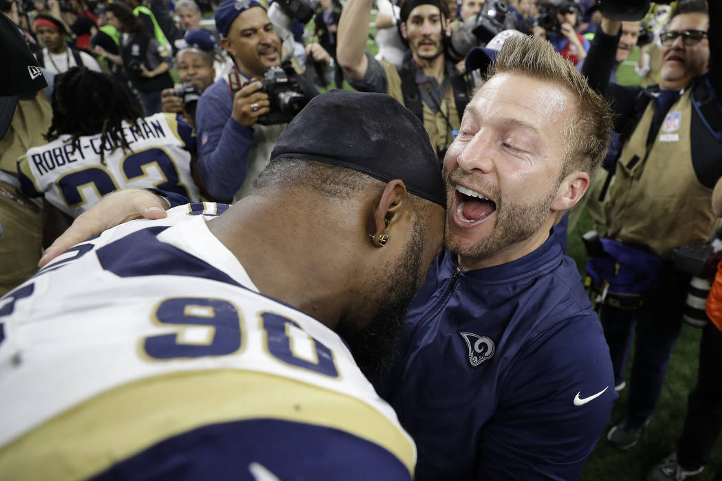 Los Angeles Rams head coach Sean McVay reacts after a game-winning field goal during overtime of the NFL football NFC championship game against the New Orleans Saints Sunday, Jan. 20, 2019, in New ...