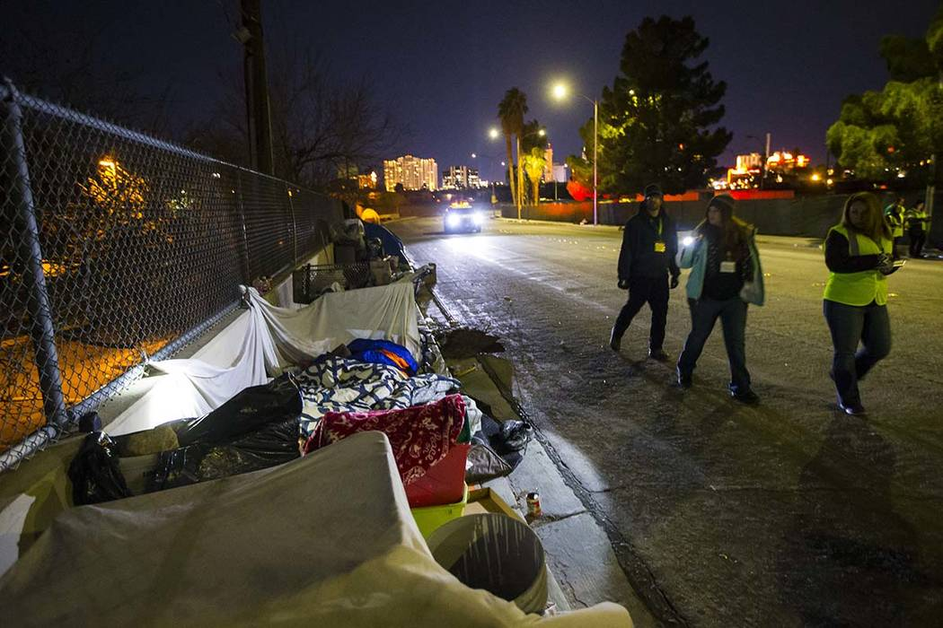 Volunteers find homeless people along Veterans Memorial Drive during the annual Southern Nevada Homeless Census goes on in Las Vegas on Tuesday, Jan. 22, 2019. (Chase Stevens/Las Vegas Review-Jour ...