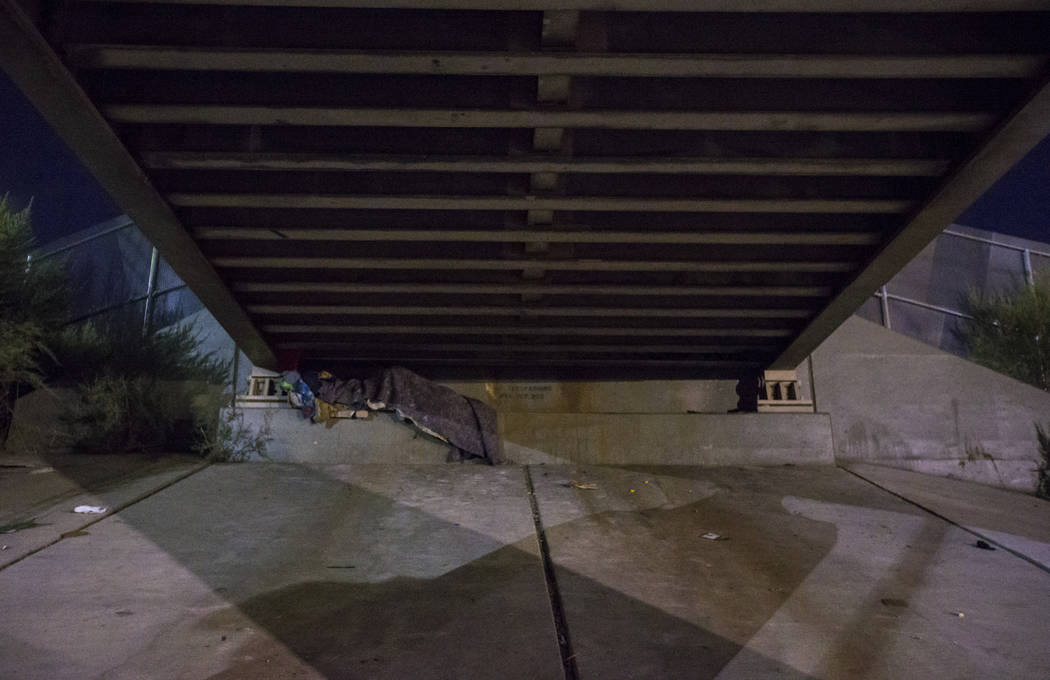 A homeless individual sleeps beneath an underpass along Owens Avenue as the annual Southern Nevada Homeless Census goes on in Las Vegas on Tuesday, Jan. 22, 2019. (Chase Stevens/Las Vegas Review-J ...