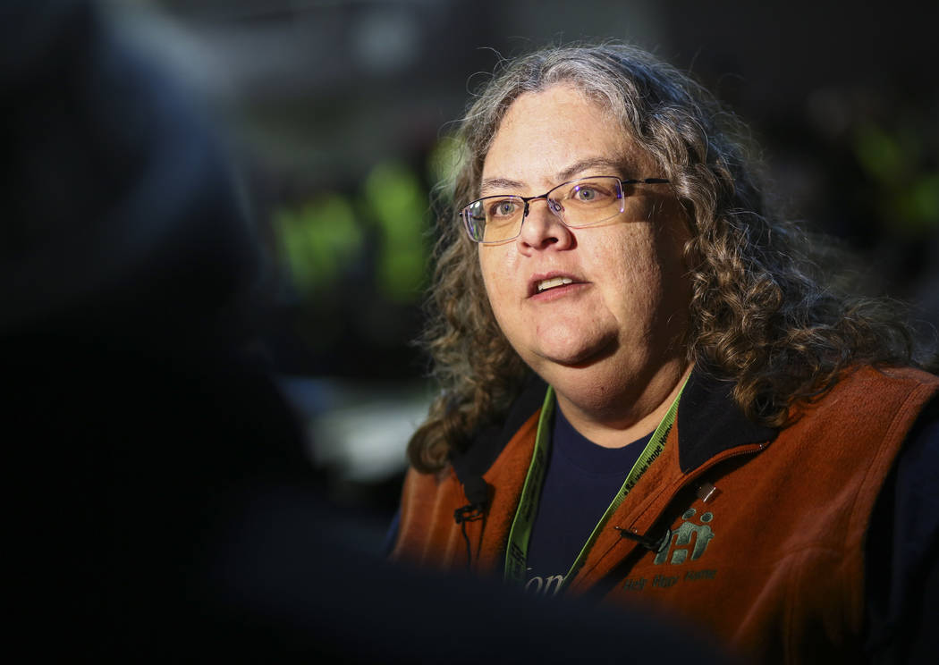 Michele Fuller-Hallauer, Clark County social service manager, is interviewed before the annual Southern Nevada Homeless Census in Las Vegas on Tuesday, Jan. 22, 2019. (Chase Stevens/Las Vegas Revi ...