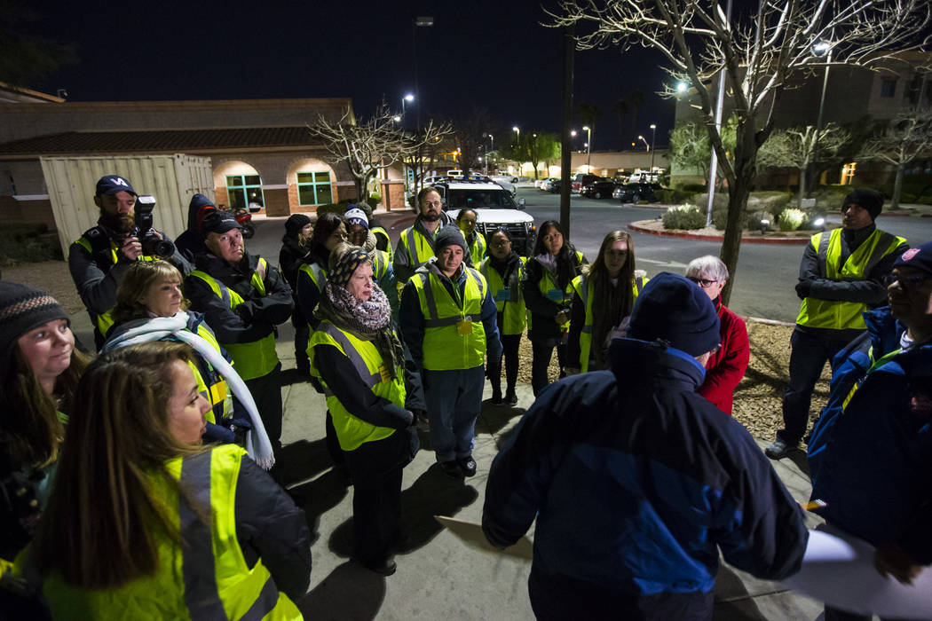Volunteers and participants gather before heading out for the annual Southern Nevada Homeless Census in Las Vegas on Tuesday, Jan. 22, 2019. (Chase Stevens/Las Vegas Review-Journal) @csstevensphoto