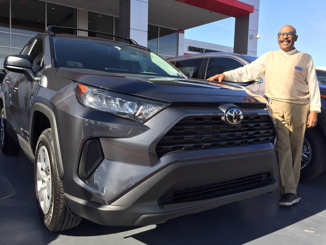 Findlay Toyota fleet manager Charlie Thrash is seen with the 2019 Toyota Rav4 at the dealership in the Valley Automall. (Findlay)