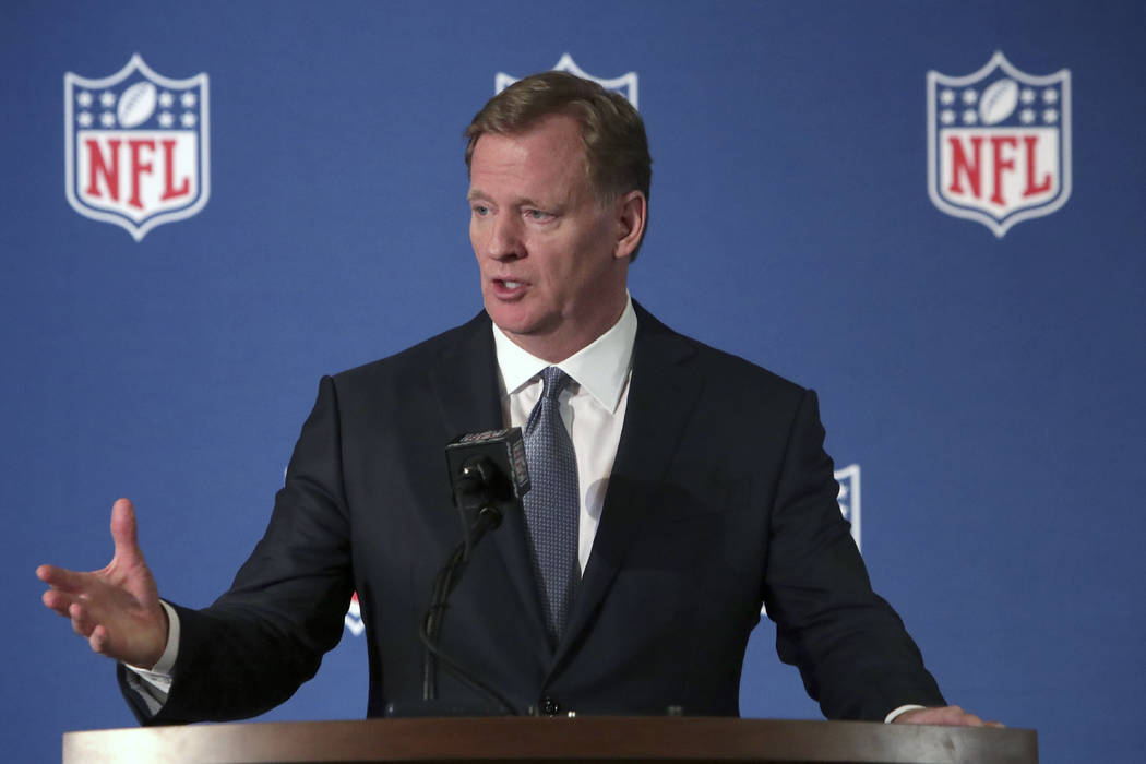 NFL commissioner Roger Goodell speaks during a news conference after the football league meeting in Irving, Texas, Wednesday, Dec. 12, 2018. (AP Photo/LM Otero)
