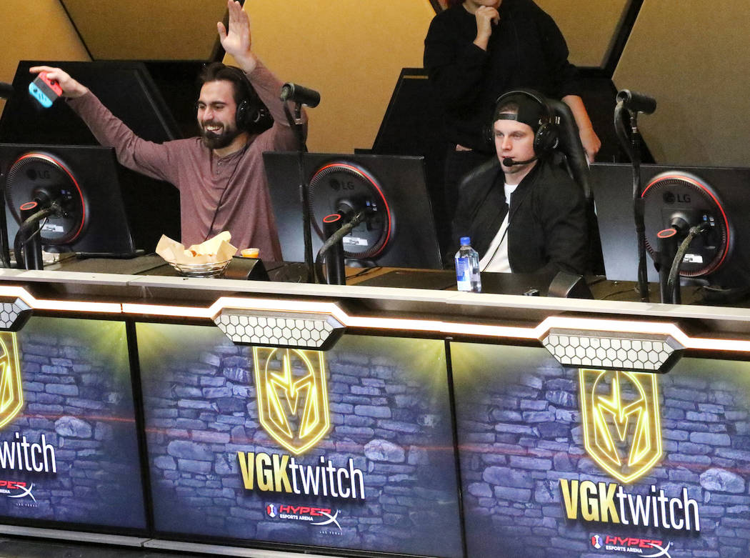 Vegas Golden Knights Alex Tuch, left, and Erik Haula, right, play Mario Kart 8 Deluxe at the HyperX Esports Arena at the Luxor hotel-casino in Las Vegas, Tuesday, Jan. 22, 2019. (Heidi Fang/Las Ve ...
