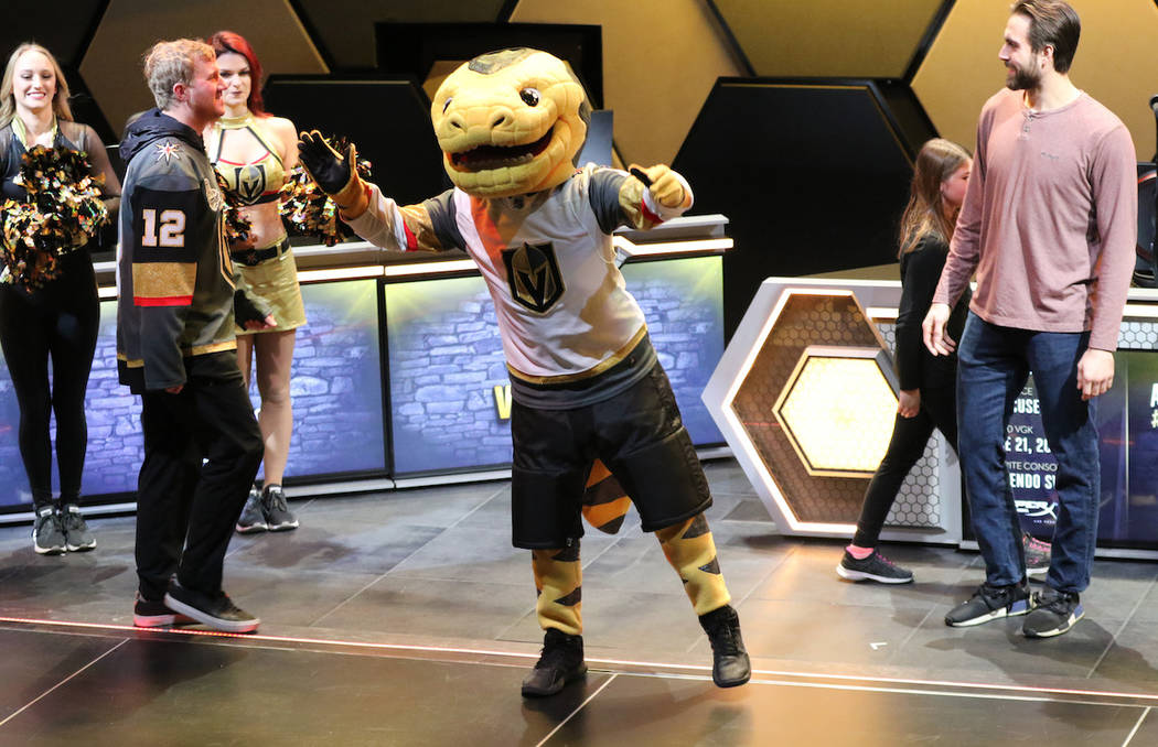 Vegas Golden Knights mascot Chance hypes the crowd at the team's VGK Twitch event at the HyperX Esports Arena at the Luxor hotel-casino in Las Vegas, Tuesday, Jan. 22, 2019. (Heidi Fang/Las Vegas ...