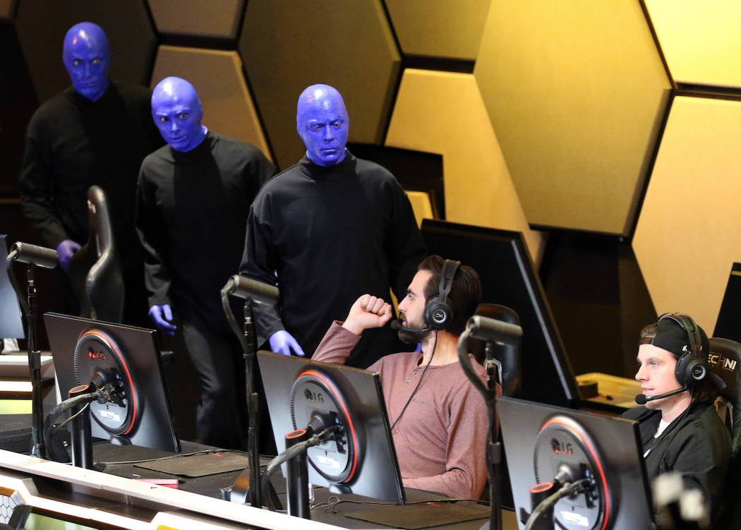 Members of the Blue Man Group are greeted by Vegas Golden Knights wing Alex Tuch as he plays Mario Kart 8 Deluxe alongside teammate Erik Haula at the HyperX Esports Arena at the Luxor hotel-casino ...