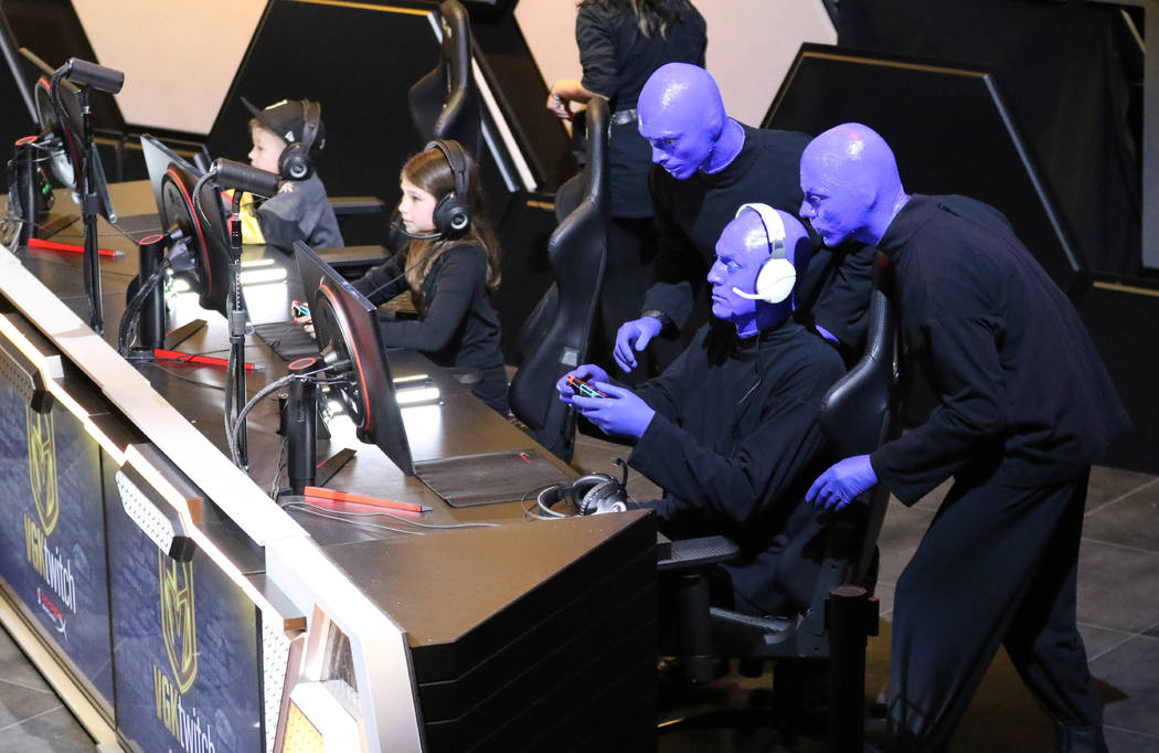 Members of the Blue Man Group arrive to play Mario Kart 8 Deluxe at the Vegas Golden Knights Twitch event at the HyperX Esports Arena at the Luxor hotel-casino in Las Vegas, Tuesday, Jan. 22, 2019 ...