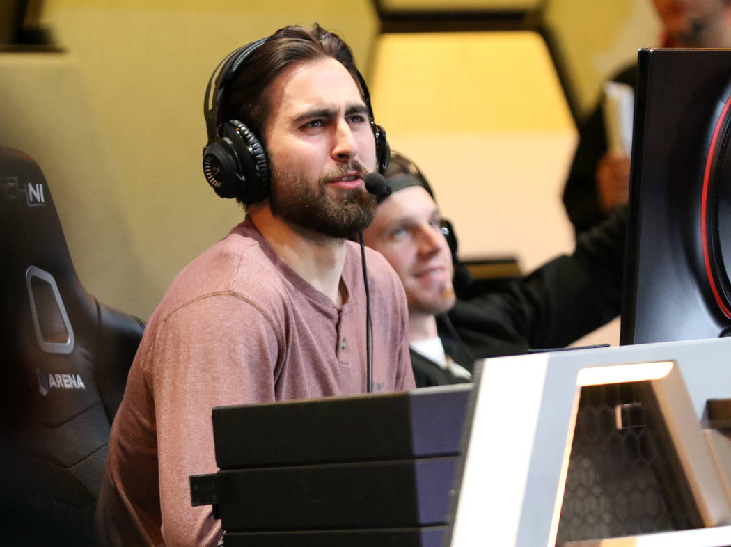 Vegas Golden Knights wing Alex Tuch reacts as he plays Mario Kart 8 Deluxe at the HyperX Esports Arena at the Luxor hotel-casino in Las Vegas, Tuesday, Jan. 22, 2019. (Heidi Fang/Las Vegas Review- ...
