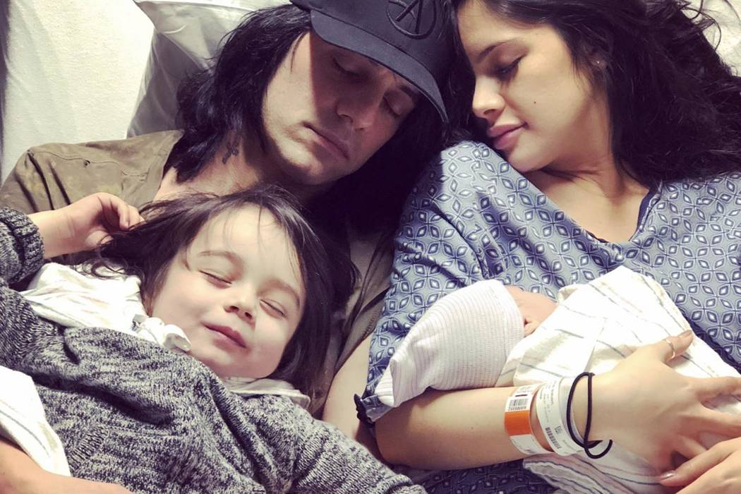 Planet Hollywood headliner Criss Angel is shown with Shaunyl Benson, Johnny Crisstopher and his baby son, Xristos Yanni, born 5:03 p.m. Tuesday, Jan. 22, 2019. (@CrissAngel)