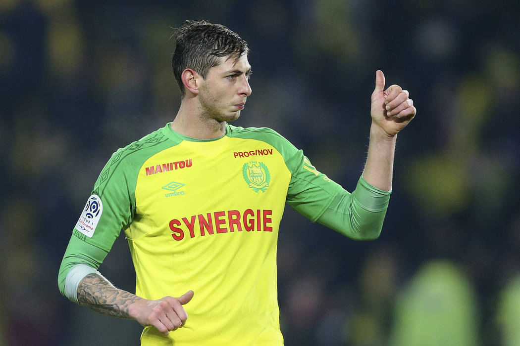 In this his picture taken on Jan. 14, 2018, Argentine soccer player, Emiliano Sala, of the FC Nantes club, western France, gives a thumbs up during a soccer match against PSG in Nantes, France. Th ...