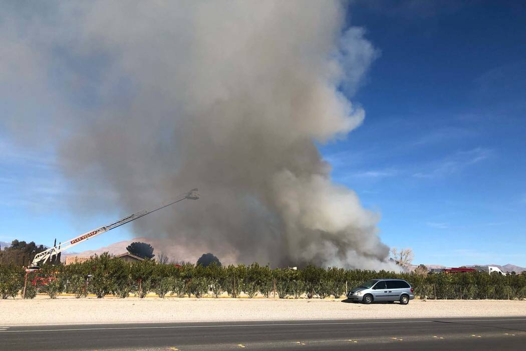 Las Vegas Fire Department put out a fire at a residential garage/shop at 7240 Sisk Road in northwest Las Vegas, Wednesday, Jan. 23, 2019. (Las Vegas Fire Department/Twitter)