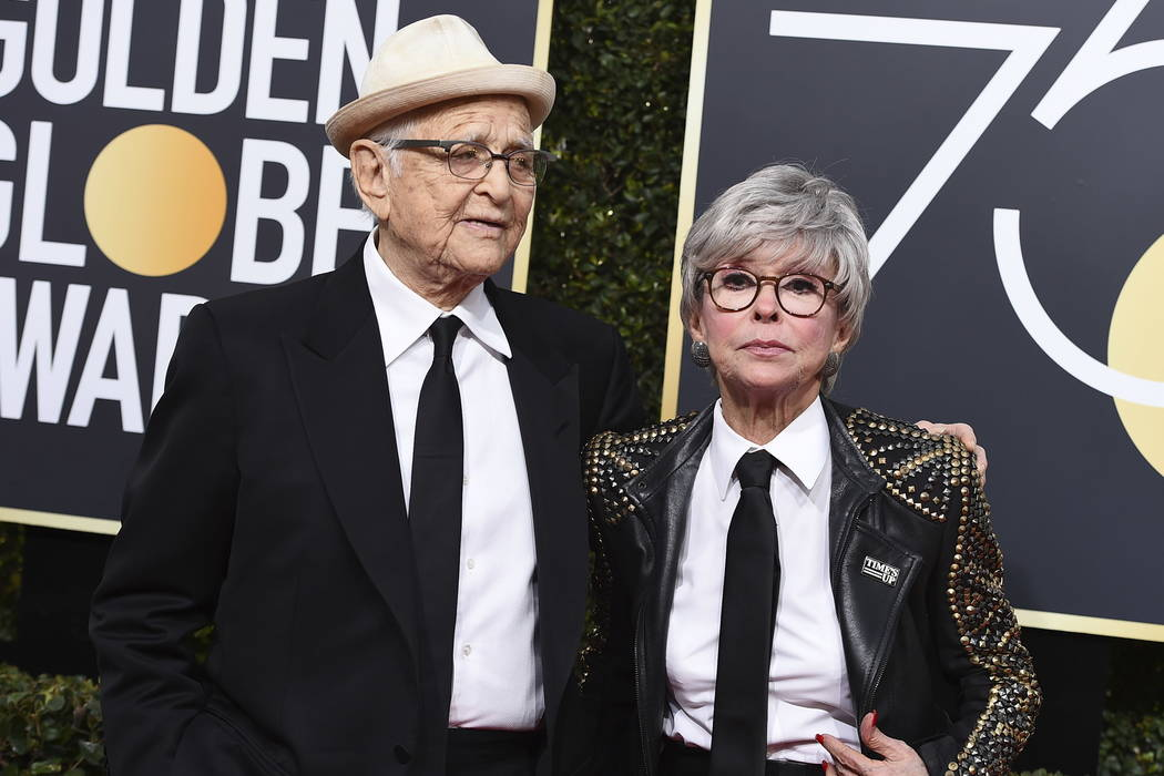 Norman Lear, left, and Rita Moreno arrive at the 75th annual Golden Globe Awards at the Beverly Hilton Hotel on Sunday, Jan. 7, 2018, in Beverly Hills, Calif. (Photo by Jordan Strauss/Invision/AP)