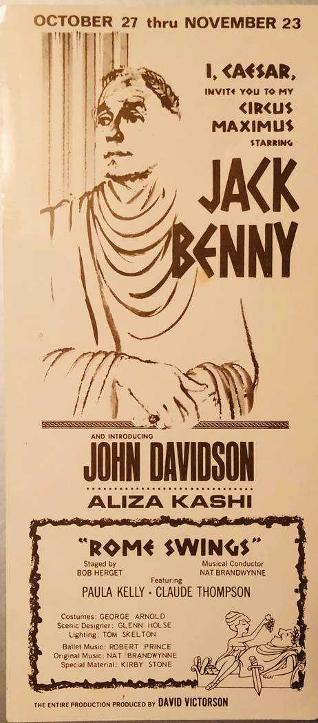 The brochure announcing Jack Benny's performance at Caesars Palace in 1966, for which John Davidson opened. (Glenn Alai)