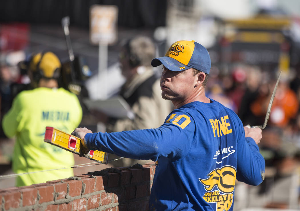 J.T. Payne, from Cape Girardeau, Mo., competes in the Spec Mix Bricklayer 500 during day two of the World of Concrete trade show on Wednesday, Jan. 23, 2019, at the Las Vegas Convention Center, in ...
