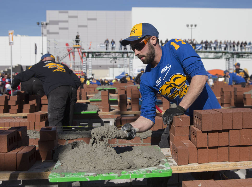 Steve Thibault from Montreal competes in the Spec Mix Bricklayer 500 during day two of the World of Concrete trade show on Wednesday, Jan. 23, 2019, at the Las Vegas Convention Center, in Las Vega ...