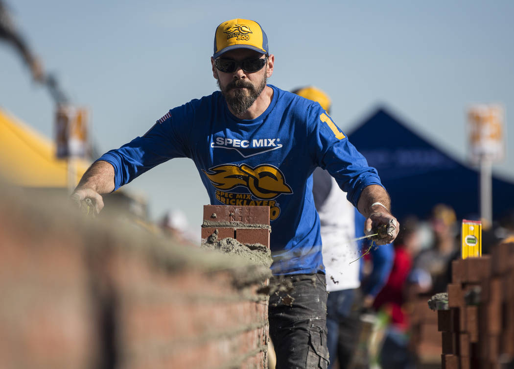 David Wernette, from Marysville, Wash., competes in the Spec Mix Bricklayer 500 during day two of the World of Concrete trade show on Wednesday, Jan. 23, 2019, at the Las Vegas Convention Center, ...