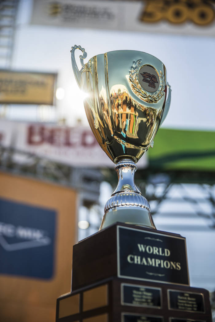 The Spec Mix Bricklayer 500 trophy during day two of the World of Concrete trade show on Wednesday, Jan. 23, 2019, at the Las Vegas Convention Center, in Las Vegas. (Benjamin Hager/Las Vegas Revie ...