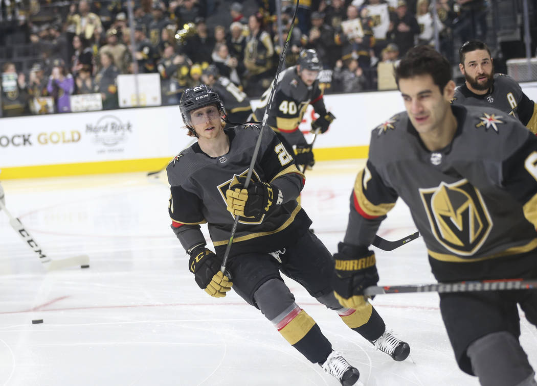 Golden Knights center Cody Eakin warms up before taking on the Nashville Predators in an NHL hockey game at T-Mobile Arena in Las Vegas on Wednesday, Jan. 23, 2019. (Chase Stevens/Las Vegas Review ...