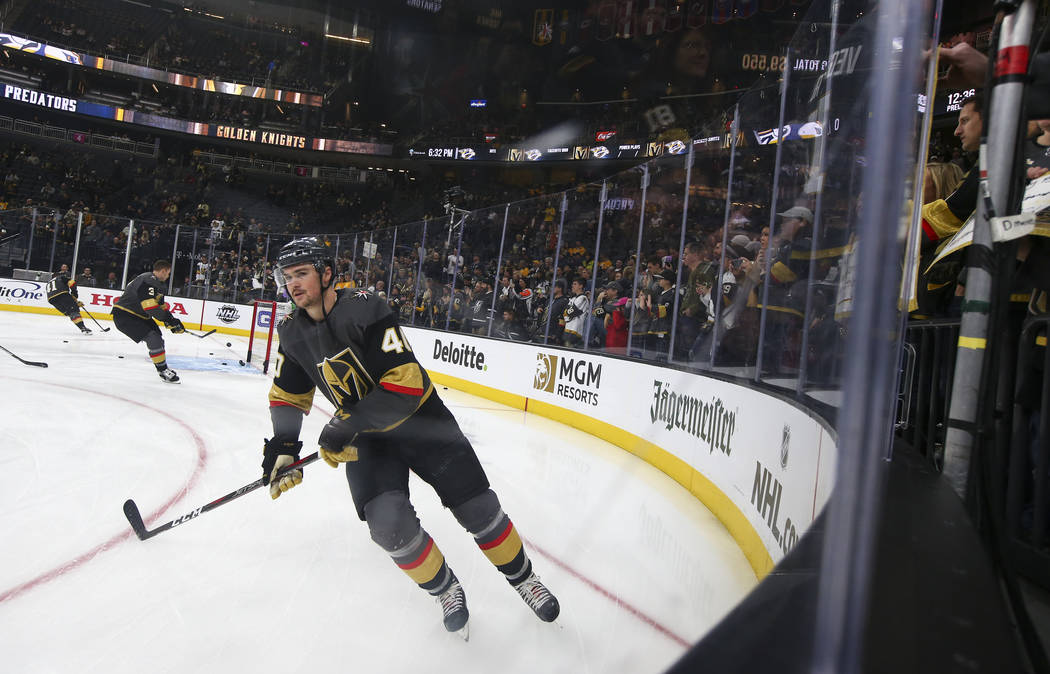 Golden Knights center Ryan Carpenter (40) warms up before taking on the Nashville Predators in an NHL hockey game at T-Mobile Arena in Las Vegas on Wednesday, Jan. 23, 2019. (Chase Stevens/Las Veg ...
