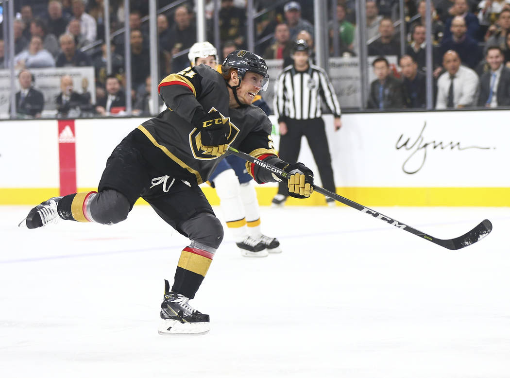 Golden Knights center Cody Eakin (21) shoots against the Nashville Predators during the first period of an NHL hockey game at T-Mobile Arena in Las Vegas on Wednesday, Jan. 23, 2019. (Chase Steven ...