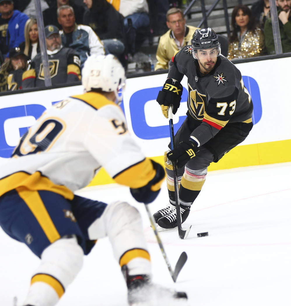 Golden Knights center Brandon Pirri (73) moves the puck against the Nashville Predators during the first period of an NHL hockey game at T-Mobile Arena in Las Vegas on Wednesday, Jan. 23, 2019. (C ...