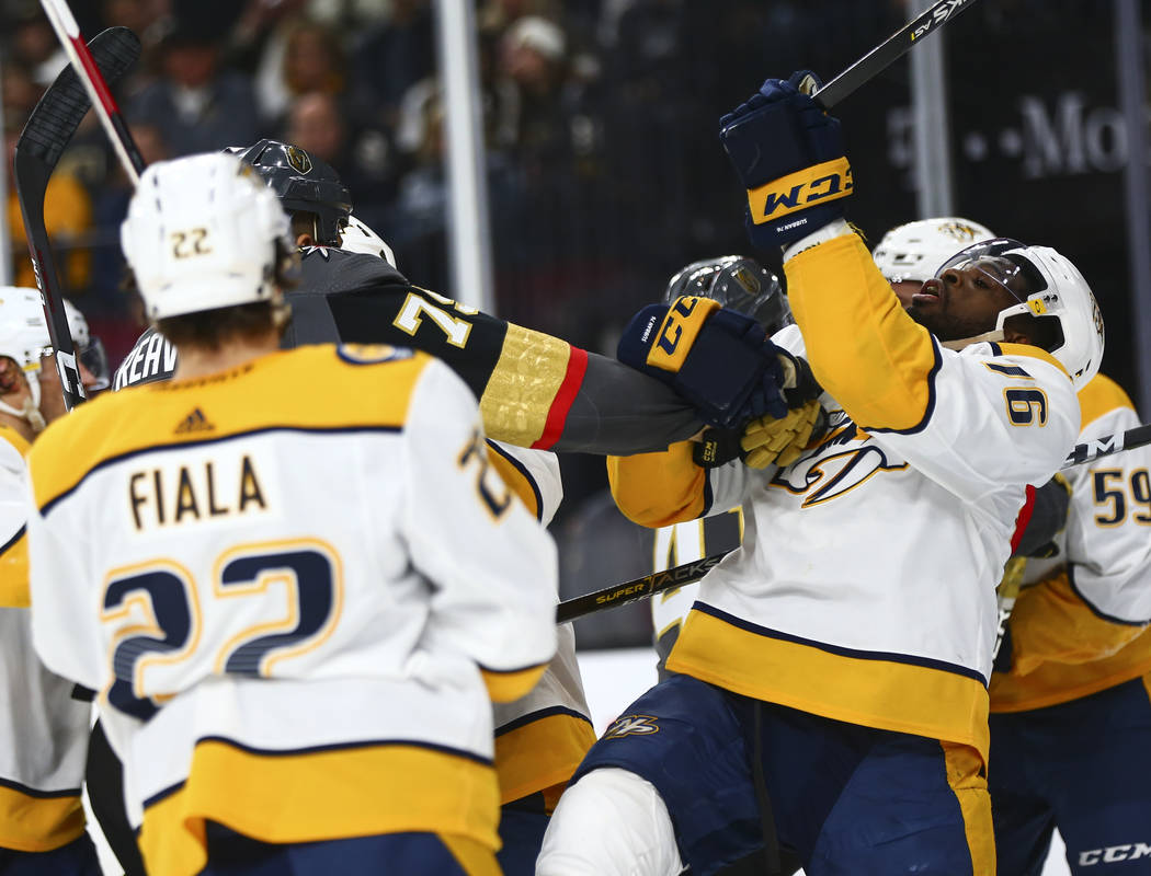 Golden Knights right wing Ryan Reaves (75) fights against Nashville Predators defenseman P.K. Subban (76) during the second period of an NHL hockey game at T-Mobile Arena in Las Vegas on Wednesday ...