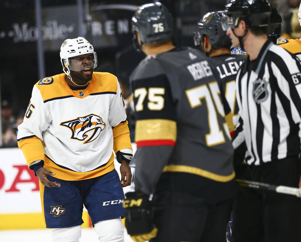 Nashville Predators defenseman P.K. Subban (76) reacts after starting a fight with the Golden Knights during the second period of an NHL hockey game at T-Mobile Arena in Las Vegas on Wednesday, Ja ...