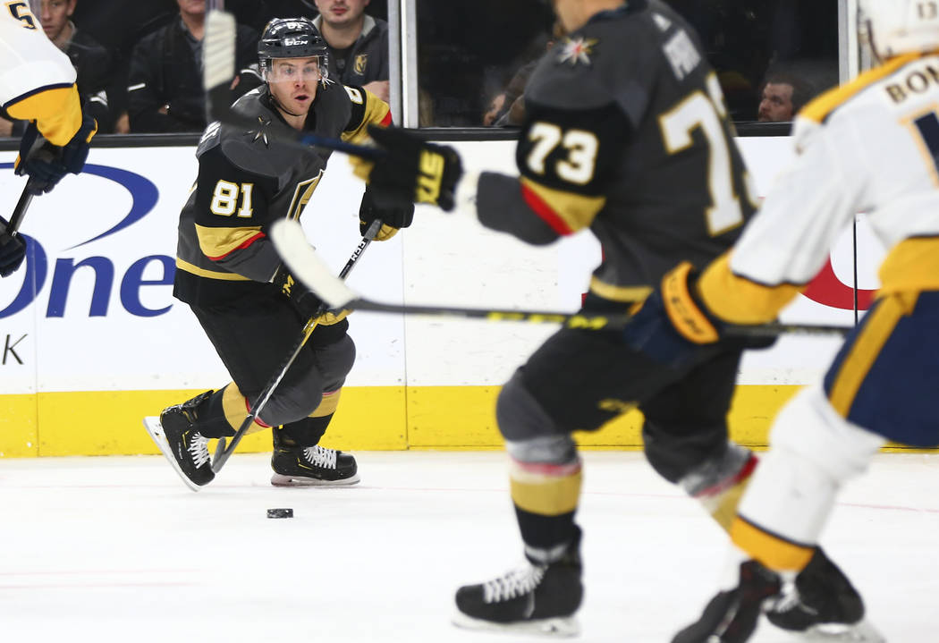 Golden Knights center Jonathan Marchessault (81) moves the puck against the Nashville Predators during the second period of an NHL hockey game at T-Mobile Arena in Las Vegas on Wednesday, Jan. 23, ...