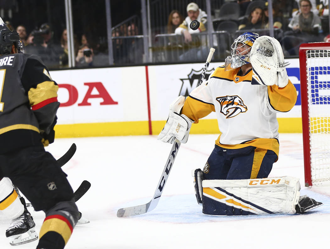 Nashville Predators goaltender Juuse Saros (74) blocks a shot from the Golden Knights during the second period of an NHL hockey game at T-Mobile Arena in Las Vegas on Wednesday, Jan. 23, 2019. (Ch ...