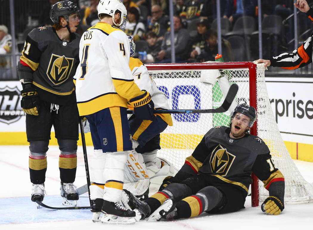 Golden Knights defenseman Jon Merrill (15) reacts after penalty call during the second period of an NHL hockey game against the Nashville Predators at T-Mobile Arena in Las Vegas on Wednesday, Jan ...