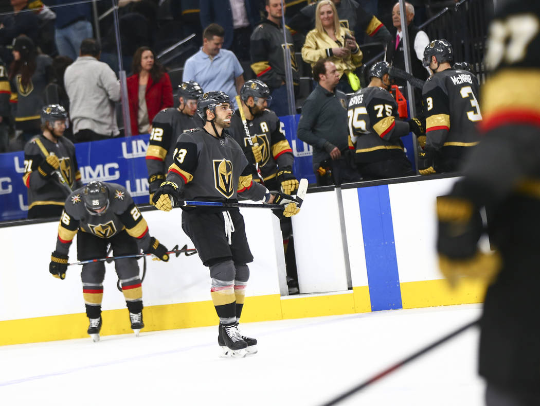 Golden Knights center Brandon Pirri (73) reacts after losing to the Nashville Predators in an NHL hockey game at T-Mobile Arena in Las Vegas on Wednesday, Jan. 23, 2019. (Chase Stevens/Las Vegas R ...