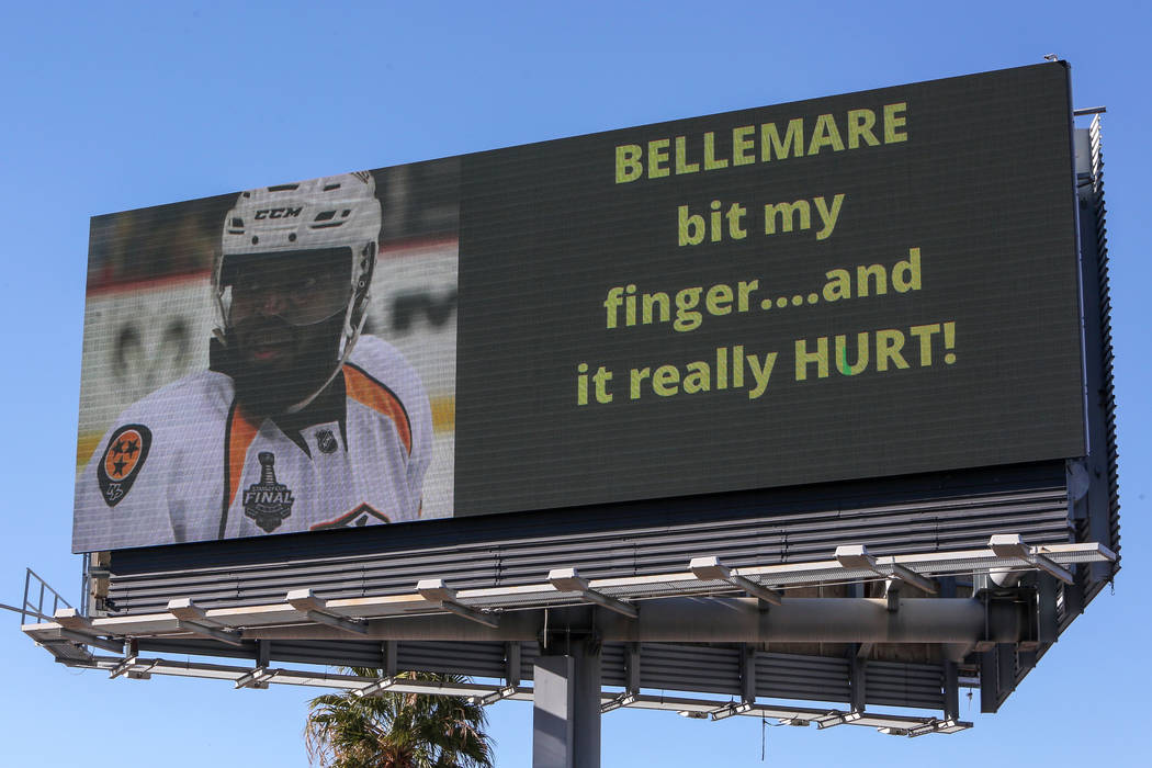 After an accusation from Nashville defenseman P.K. Subban claiming that Las Vegas forward Pierre-Edouard Bellemare bit his finger during an NFL hockey game the previous night, a billboard mocking ...