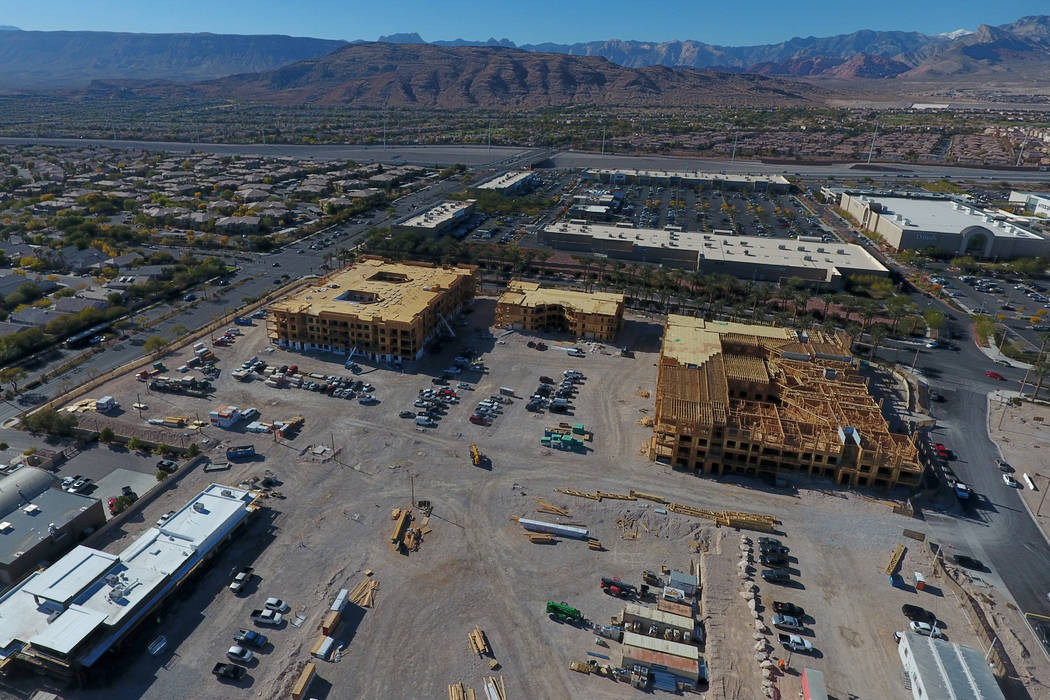 Aerial view of under-construction apartment complex just south of the Las Vegas Ballpark along Sahara Avenue between Town Center Drive and South Pavilion Center Drive in Summerlin as seen on Monda ...