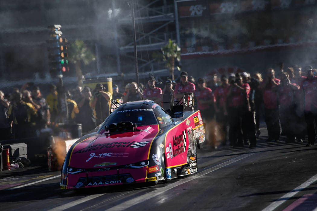 Courtney Force takes off during a race at the NHRA Toyota Nationals at The Strip at Las Vegas Motor Speedway in Las Vegas, Sunday, Oct. 29, 2017. Joel Angel Juarez Las Vegas Review-Journal @jajuar ...