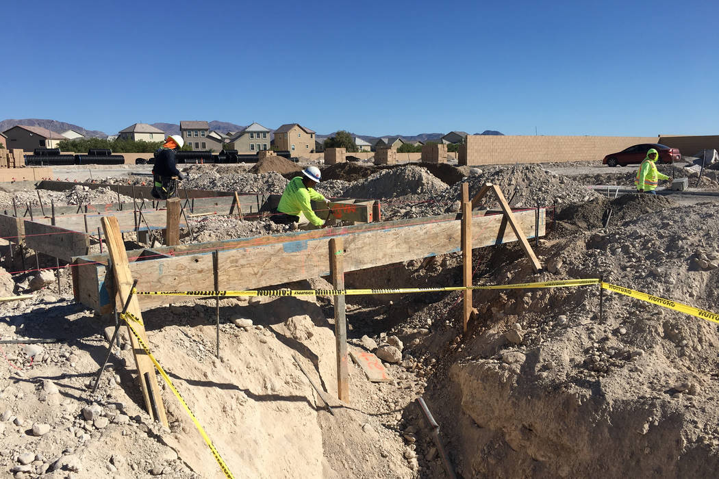 Contractors for Pulte Homes work on a home site in North Las Vegas' Sedona Ranch community on Friday, Oct. 12, 2018. (Eli Segall/Las Vegas Review-Journal)