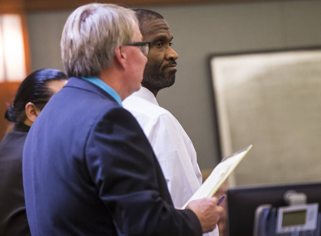 Emilio Arenas looks at the jury after being read verdicts on multiple counts at Regional Justice Center in Las Vegas on Friday, Jan. 25, 2019. Arenas was charged with first degree murder, among ot ...