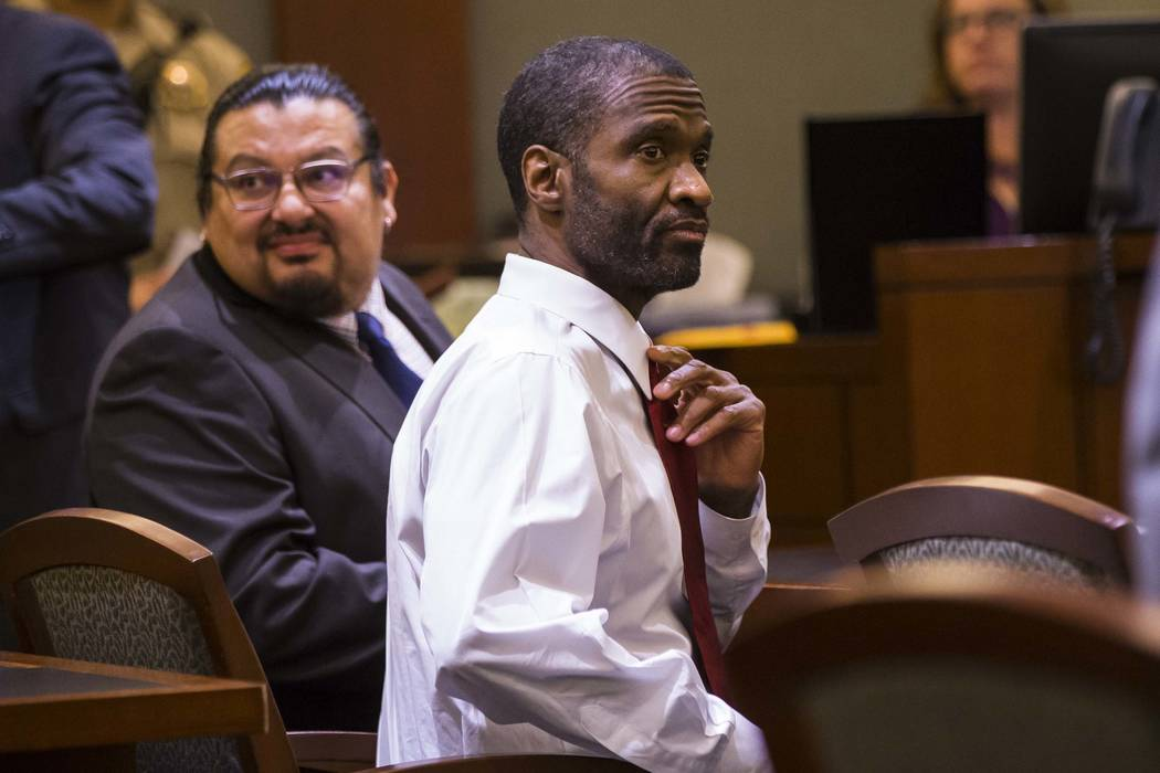 Emilio Arenas looks on before being read verdicts on multiple counts at Regional Justice Center in Las Vegas on Friday, Jan. 25, 2019. Arenas was charged with first degree murder, among other char ...