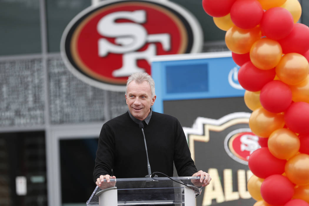 "Former San Francisco 49ers quarterback Joe Montana speaks at a ceremony commemorating ""The Catch"" to unveil a statues of himself and wide receiver Dwight Clark before an NFL football gam ..."