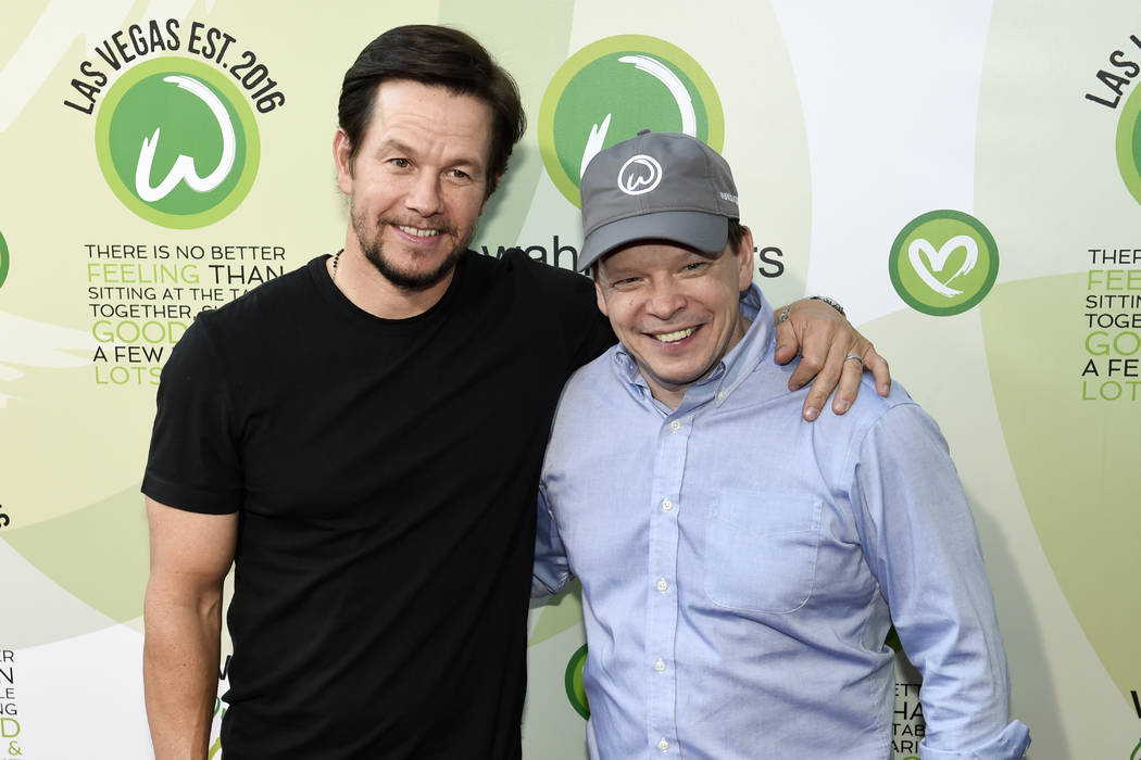 Actor Mark Wahlberg and brother executive chef Paul Wahlberg arrive at a VIP event at Wahlburgers Las Vegas in the Grand Bazaar Shops at Bally's Tuesday, March 28, 2017. (Sam Morris/Las Vegas News ...