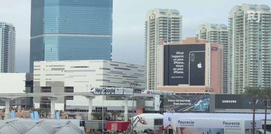 Apple took out big ad and used a twist on Las Vegas' slogan to take swipe at other social media companies at CES 2019. Todd Prince/Las Vegas Review-Journal