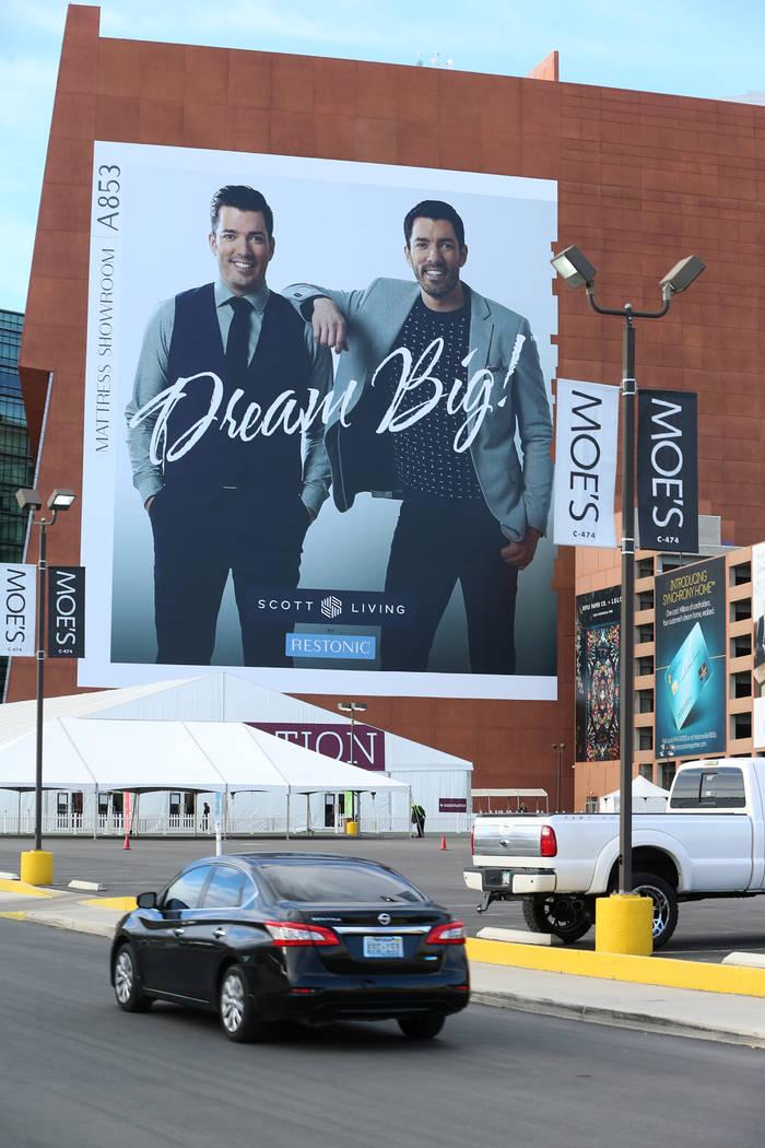 A Property Brothers building wrap ad is seen at the World Market Center in Las Vegas, Friday, Jan. 25, 2019. (Erik Verduzco/Las Vegas Review-Journal) @Erik_Verduzco