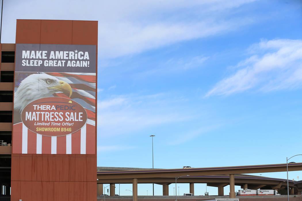 Building wrap ads are see at the World Market Center in Las Vegas, Friday, Jan. 25, 2019. (Erik Verduzco/Las Vegas Review-Journal) @Erik_Verduzco