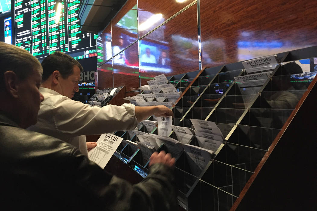 The Westgate sportsbook in Las Vegas is shown on Jan. 24, 2019. The sportsbook posted its Super Bowl prop bets at 7 p.m. Thursday. (Chase Stevens/Las Vegas Review-Journal)