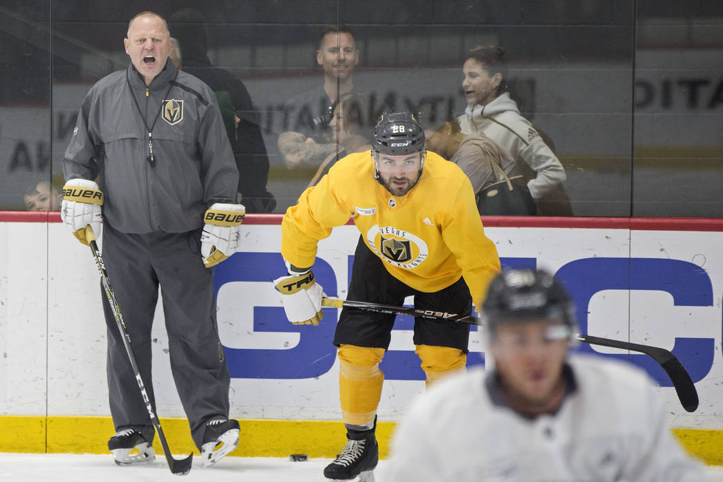 Golden Knights coach Gerard Gallant, left, gives instruction to his players during practice on Wednesday, Oct. 3, 2018, at City National Arena, in Las Vegas. Benjamin Hager Las Vegas Review-Journa ...