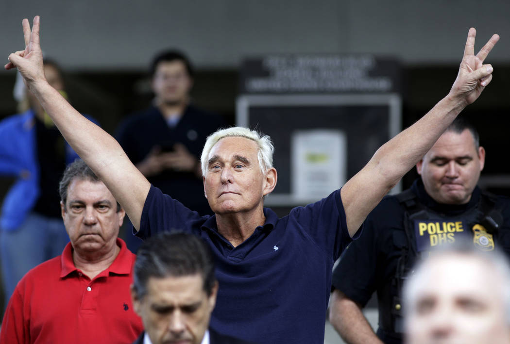 Former campaign adviser for President Donald Trump, Roger Stone walks out of the federal courthouse following a hearing, Friday, Jan. 25, 2019, in Fort Lauderdale, Fla. Stone was arrested Friday ...
