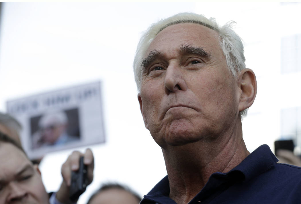 Roger Stone, a confidant of President Donald Trump, walks out of the federal courthouse following a hearing, Friday, Jan. 25, 2019, in Fort Lauderdale, Fla. Stone was arrested Friday in the specia ...