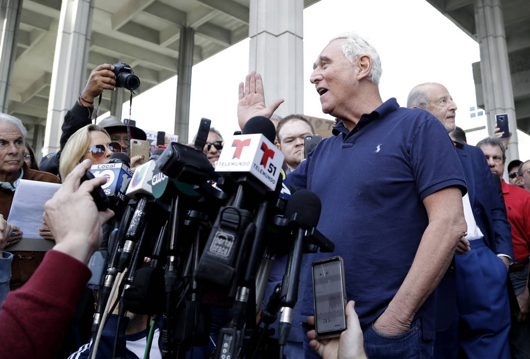 Roger Stone, a confidant of President Donald Trump, speaks outside of the federal courthouse following a hearing, Friday, Jan. 25, 2019, in Fort Lauderdale, Fla. Stone was arrested Friday in the s ...