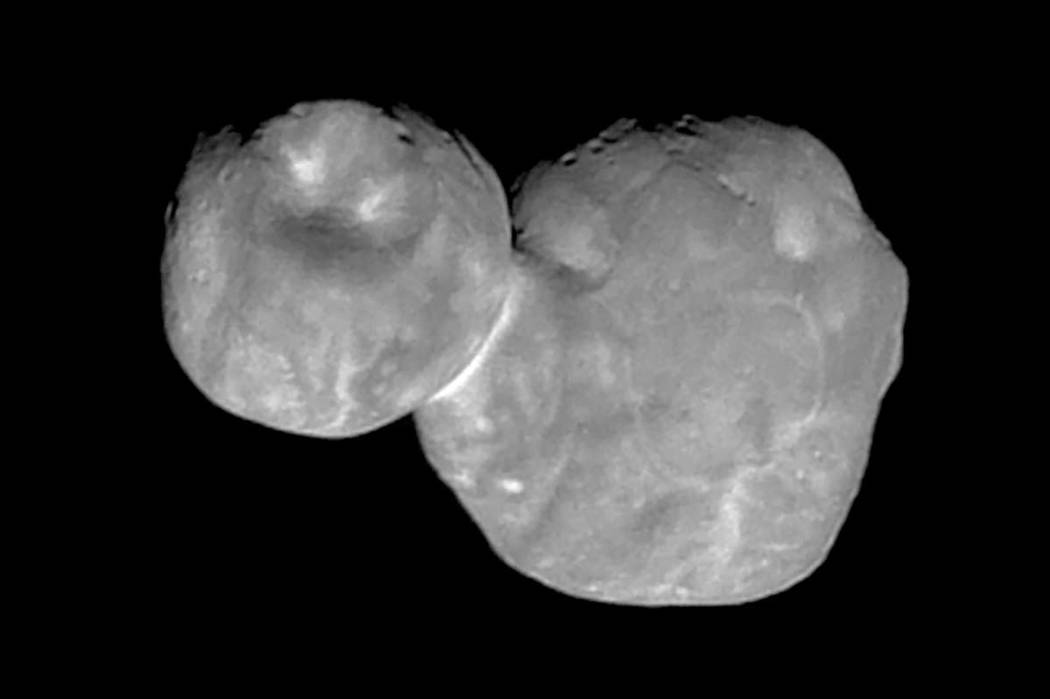 This Tuesday, Jan. 1, 2019 image made available by NASA on Thursday, Jan. 24 shows the Kuiper belt object Ultima Thule, about 1 billion miles beyond Pluto, encountered by the New Horizons spacecra ...